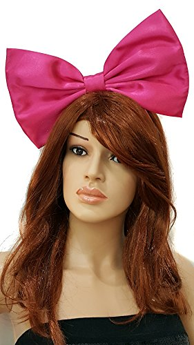 Giant Extra Large Hair Bow Collection (Headband, Hot Pink Barbie in Satin) ()