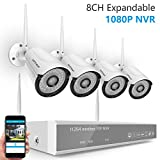 [Full HD] H.265 Security Camera System Wireless,Safevant 8CH 1080P NVR Wireless Camera System(NO HDD), 4PCS 1080P Indoor/Outdoor IP66 Wireless Security Cameras,Auto Pair,Plug&Play,No Monthly Fee