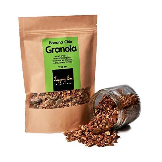 Jaggery Box Banana Chia Granola 100% Natural Handmade Vegan Breakfast Cereal (1 Kg)