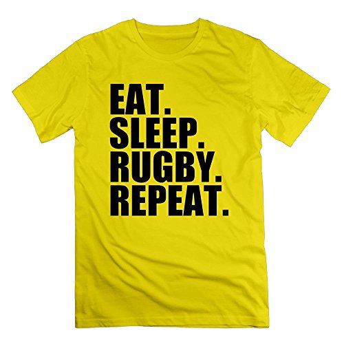 I Like Exercise Eat. Sleep. Rugby. Repeat.Mens T-Shirt Yellow XXXL - 508 Rugby