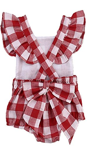 Girls Clothing Sets,Soild Colour Costume Set Newborn Baby Girl Cotton Lattice Bowknot Clothes Bodysuit Romper Jumpsuit Outfit Set