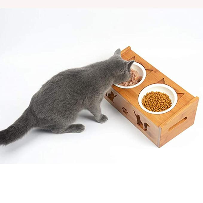 Amazon.com: Bamboo Wood Cat Bowl Pet Table Ceramic Dog Bowl Pet Bowl,D: Kitchen & Dining