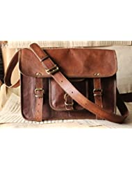 Handmade Craft Leather Unisex Real Leather Messenger Bag for Laptop Briefcase Satchel