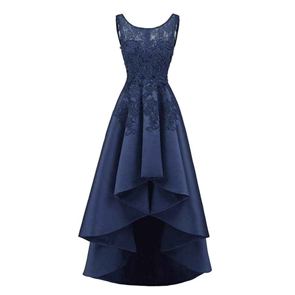 エレガントなレースのバックロングショート女性のイブニングドレスの花嫁介添人ドレスラウンドネックノースリーブ8色 B07QLSSFXD US:8|ダークネイビー ダークネイビー US:8