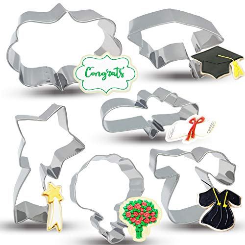 - Bonropin Graduation Cookie Cutters Set - 6 Piece Stainless Steel Graduation cap, Gown, Diploma, Bouquet, Shooting Star, Plaque Frame Cutters Mold for Making Pastry Cake Fondant Pancake
