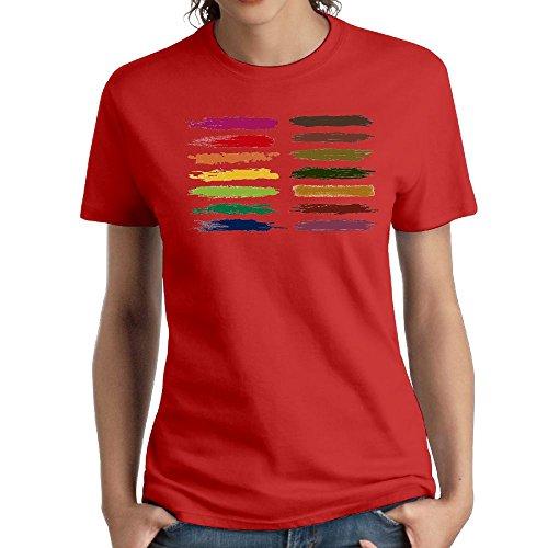 (Women's Cotton Short-Sleeved T-Shirt Design Painted Logo Red XXL)