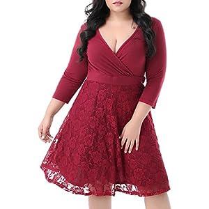 3ec86e56a104f Nemidor Women s V-neckline 3 4 Sleeves Stretchy Plus Size Cocktail Party  Midi Dress (Wine Red