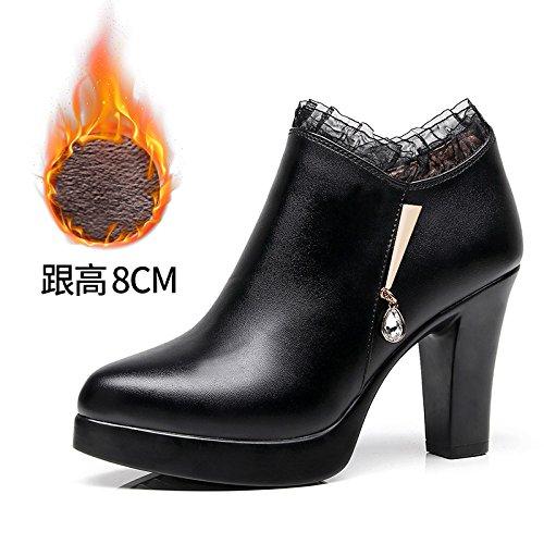 8 Un Single pais Ultra Petit Chaussures Code Le Nombre Velours Femmes Impermables Grand De Avec Cm L'eau 37 Noir Cuir 32 33 Plus Taiwan profond zfwPPqgnI