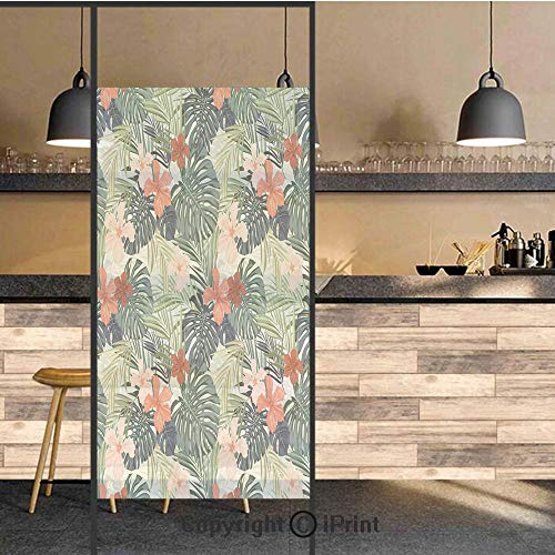 3D Decorative Privacy Window Films,Summer Beach Holiday Themed Hibiscus Plumeria Crepe Ginger Flowers Decorative,No-Glue Self Static Cling Glass film for Home Bedroom Bathroom Kitchen Office 24x71 Inc