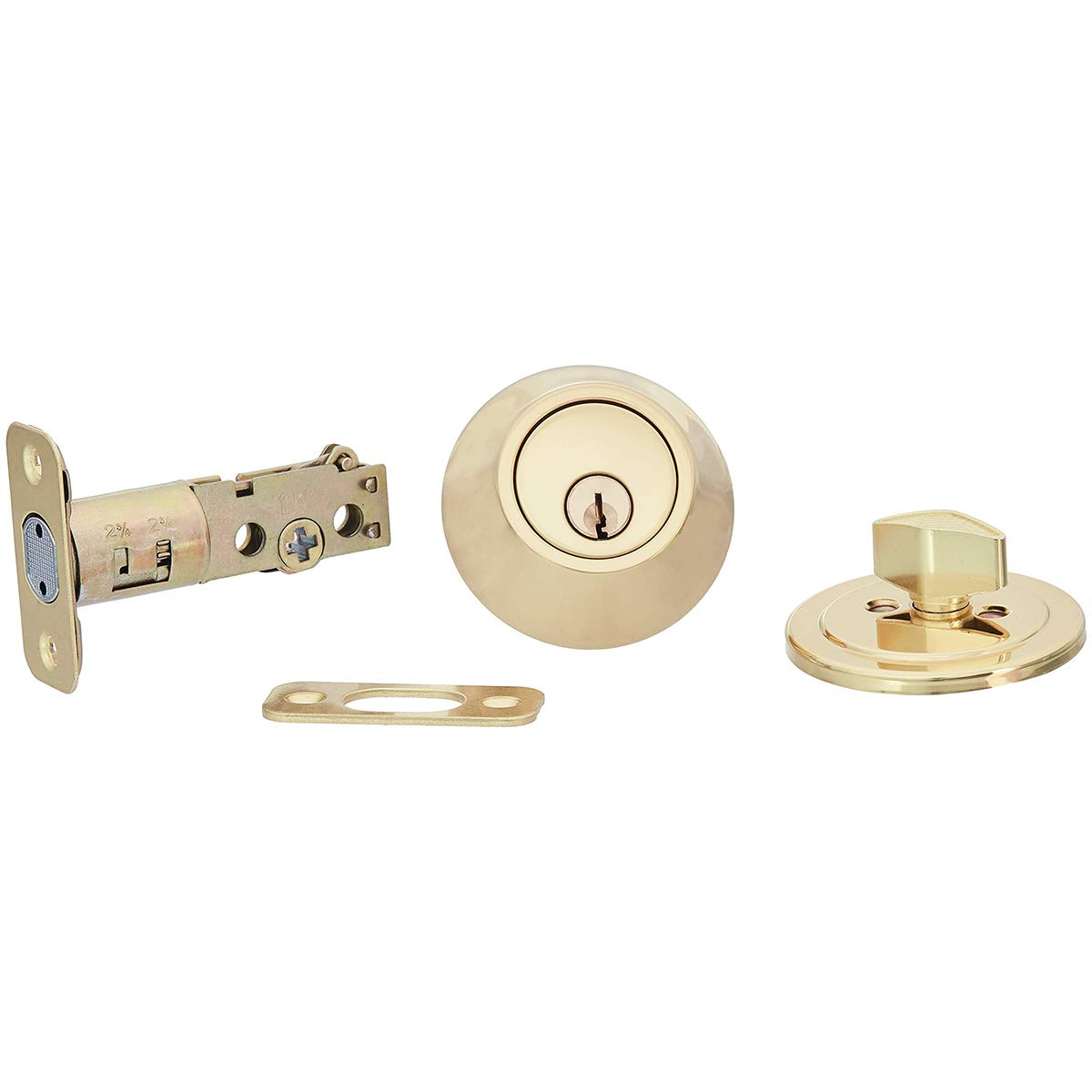 AmazonBasics Entry Knob and Deadbolt - Classic - Polished Brass – 2-Pack by AmazonBasics (Image #3)