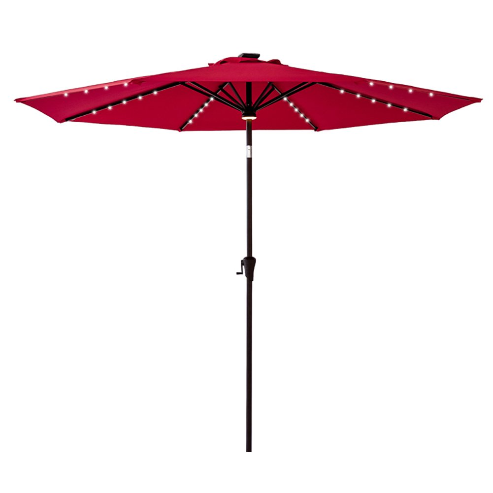 FLAME&SHADE 11 feet Solar Power LED Lights Outdoor Patio Market Umbrella with Crank Lift, Push Button Tilt, Red