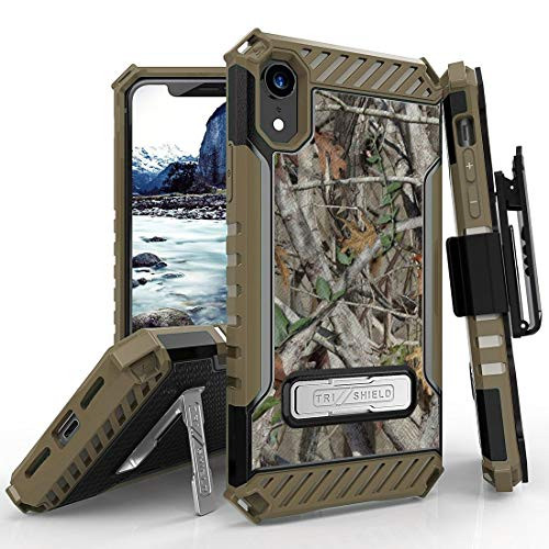 Beyond Cell Tri Shield Military Grade Shock Proof [MIL-STD 810G-516.6] Kickstand Case Cover with 360 Degree Rotating Swivel Belt Clip Holster for Apple iPhone XR - Camo Tree from Bemz Depot