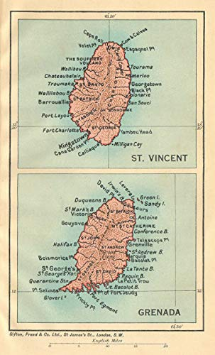 Amazon.com: ST Vincent & Grenada. Vintage maps. West Indies ...