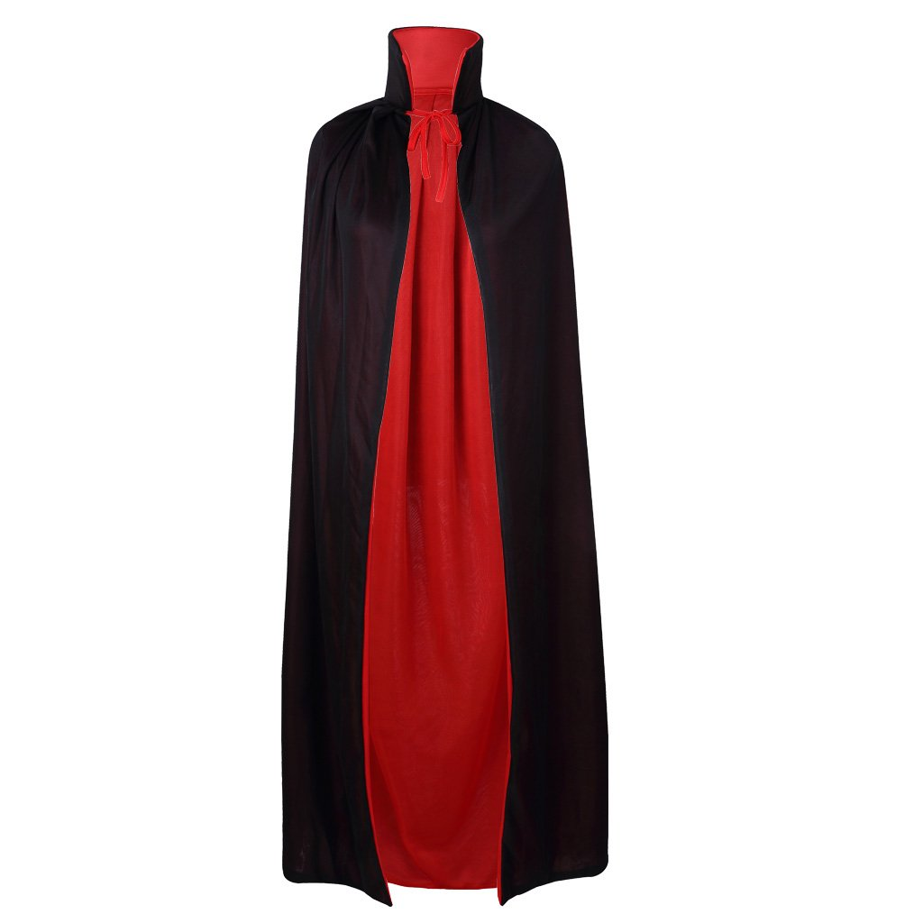 55 Stand Collar Reversible Cloak Masquerade Cape Costume, Black and Red X50065