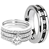 Manova Jewelry His & Her 4-Piece Women Sterling Silver & Men Stainless Steel Half Clear Half Black CZ Engagement Wedding Rings Set