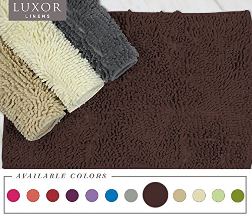 "Luxor Linens - Bath Mat Shag Chenille - Rubber Backed & Non Slip (20"" x 32"") Baby Soft & Absorbent Shower Rug - Colorful Floor Mats for The Kids! - 1 Piece - Chocolate"