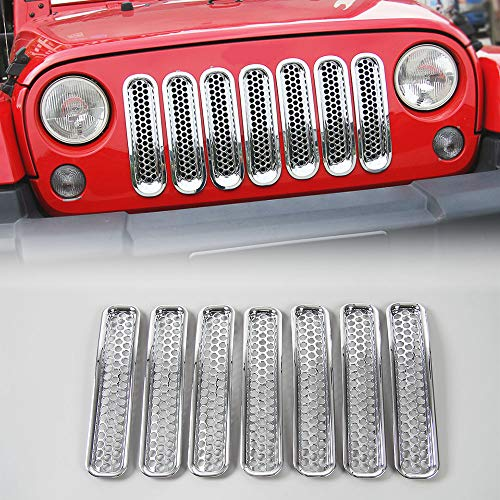 Chrome Grill Kit - JeCar Chrome Front Grill Inserts Grill Mesh cover Honeycomb Kit for 97-06 Jeep Wrangler TJ & Unlimited - 7PCS