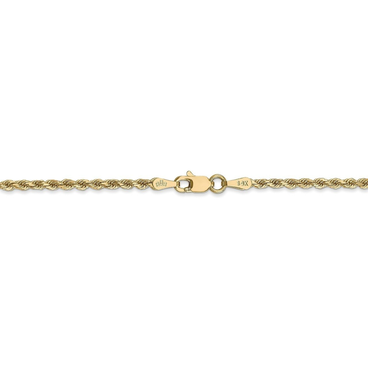 Bracelet or Anklet Lex /& Lu 14k Yellow Gold 2mm D//C Rope Chain Necklace