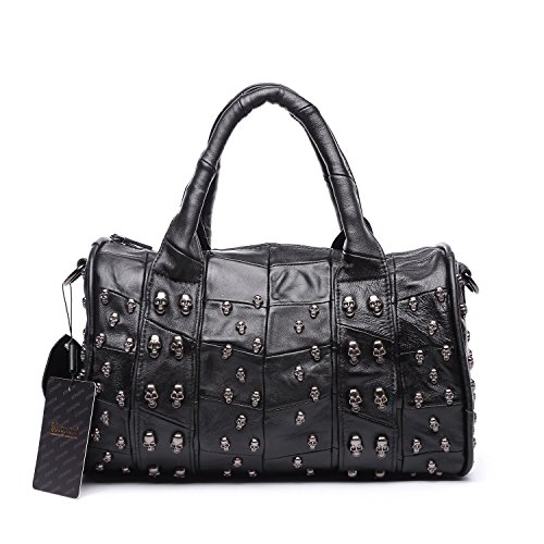 Jonon 12.6 Inch Women's Lambskin Doctor Style Handbag Skull Studded Shoulder Satchel Bag ()