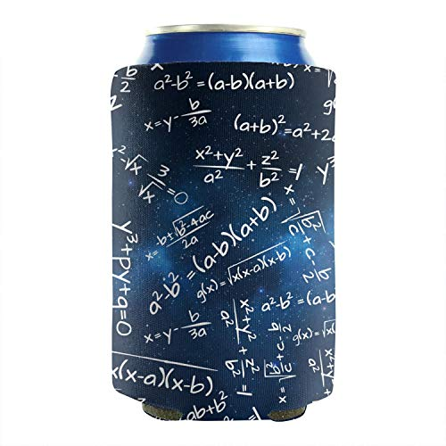 2-Pack Durable Collapsible Fully Stitched Insulated Bottles Holder Neoprene Beverage Coolers Fits 12 Ounce Blue Galaxy Math Formula Cold Drink Soda Water Beer Cans Cooler Sleeve -