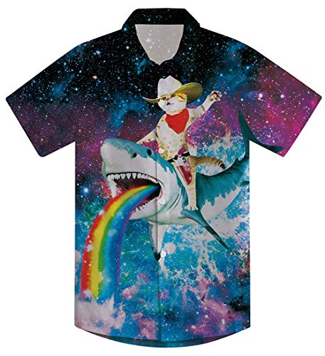 (Boys Blue Shark Brown Cat Shirt for Size 10-12 Teenagers 3D Floral Print Funny Galaxy Space Rainbow Short Sleeve Button Collared Dress Up T-shirts Big Guys Child Tropical Summer Holiday Party Customes)