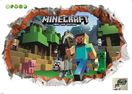 Kibi Minecraft Juego de Dibujos Animados de Minecraft 3D Etiqueta de la Pared para Ni/ños Habitaci/ón Mural Cartel decoraci/ón del Hogar Etiqueta de la Pared