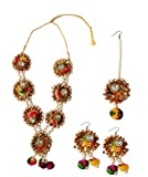 Loops n knots Handmade Multi-Color Gotta Patti/ Floral Necklace Jewellery Set Traditional Ethnic Perfect Accessory For Indian Outfit