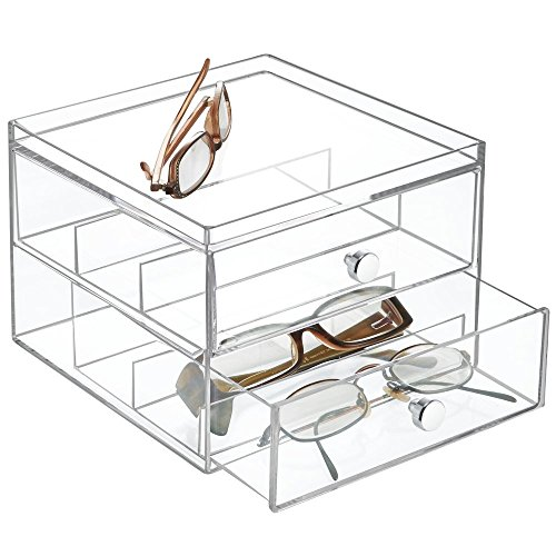 mDesign Stackable Eyeglass Organizer Holder for Sunglasses, Eyeglasses, Reading Glasses - 2 Divided Drawers, Clear