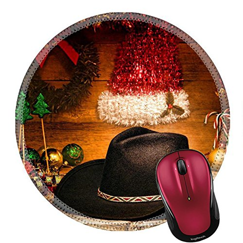 Rodeo Motif (Liili Round Mouse Pad Natural Rubber Mousepad IMAGE ID: 17141869 American West rodeo traditional black felt cowboy hat on wood vintage shelf with festive Christmas display decoration in an authentic)