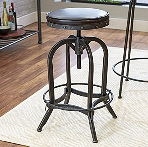 Sturdy Industrial-chic Style High Quality Elegant Home or Business Brown Round Rust Resistant Adjustable Height Iron Studded and Worn Faux Leather Antiqued Pewter Finish Swivel Bar Stool Furniture