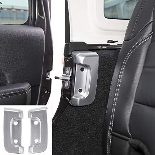 Car Rear Door Lock Buckle Decoration Cover Trim for Jeep JL Wrangler 2018+ (Silver)