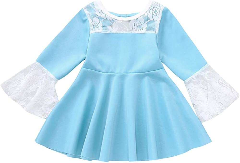 XEDUO Kids Baby Girl Flares Long Sleeve Lace Dress Solid Bow Princess Dress Clothes