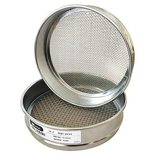 "KimLab Economy Test Sieve #12/1.7mm Mesh Size,304 Stainless Steel Wire Cloth, Chorme Plating Frame, 8"" Diameter Sieve"