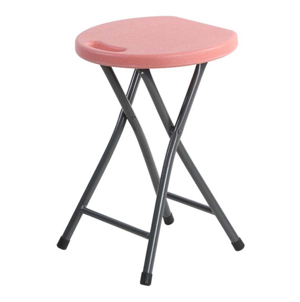 Onfly Plastic Folding Stools With Carrying HandleHome Thickening Table Stool Portable Outdoor Stools Simple Stool (Color : Light pink)