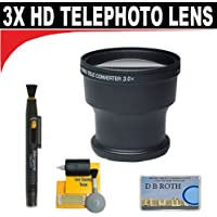 3x Digital Telephoto Professional Series Lens + 5 Pc Cleaning Kit + DB ROTH Micro Fiber Cloth For The Canon DC50, DC40, DC20, DC10 DVD Camcorders (adapter tube included if needed)