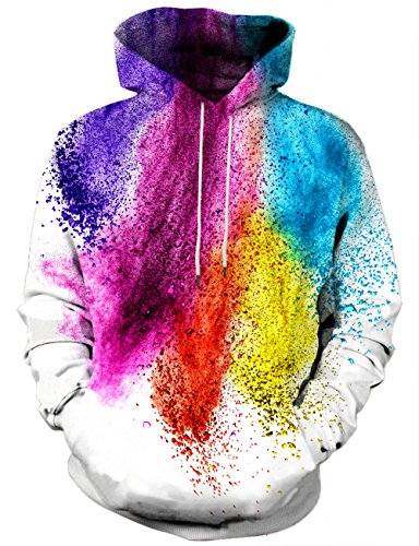 Yasswete Unisex 3D Printed Hooded Sweatshirt Casual Pullover Hoodie With Big Pockets Large ()