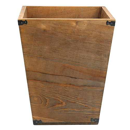 MyGift Dark Brown Torched Wood Design Waste Bin/Small Decorative Trash Can for Bedroom, Bathroom & Office by MyGift (Image #5)