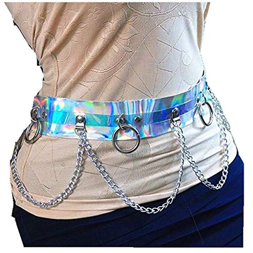(CHICTRY Women Shiny PVC Harness Garter Belt Metal Chain Waistband Body Caged Silver One Size)