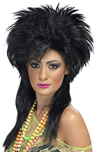 [Smiffy's Women's Long Black Mullet Wig, Groovy Punk Chick Wig, One Size, 42169] (80s Chick Costume)
