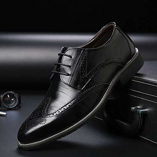 uomo shoes Orange foderato Xiaojuan 44 pelle EU Business Scarpe vera Dimensione Nero Lace Top Scarpe da Oxford Hollow da traspirante Wingtip Up Low Uomo in uomo Color Pelle Carving qSwSU8xd
