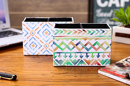 LINKWELL Colorful Ikat Pattern PU Leather Rectangular Pencil Pen Holder Desk Organizer PH28 by LINKWELL (Image #5)