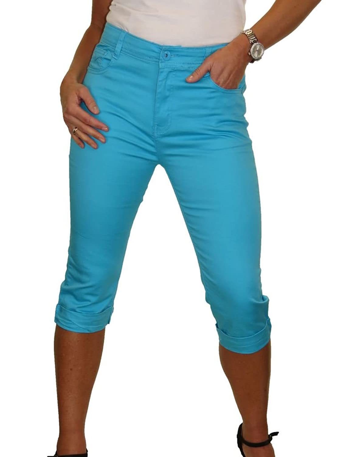 icecoolfashion High Waist Capri Cropped Stretch Jeans Chino Sheen Turn UPS 6-16