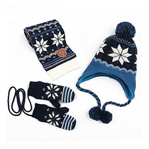 Old Navy Fleece Mittens Hat (Beide Boys Girls Christmas Knitted Fleece Hat + Scarf + Gloves Snowflake Print 3 Piece Set(navy,s))