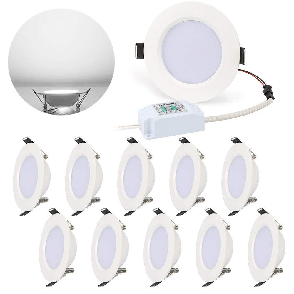 LED Panel Light Lamp Dimmable Round, Ultra-Thin Recessed Ceiling Light, 500lm, Daylight White 6000K, Cut Hole 75mm, Downlight with LED Driver for Home Office Commercial Lighting - 10PACK