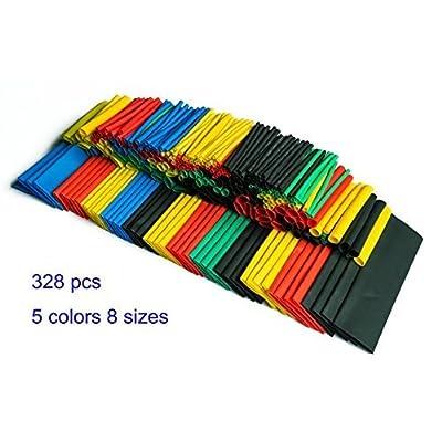 SummitLink 328 Pcs Assorted Heat Shrink Tube 5 Colors 8 Sizes Tubing Wrap Sleeve Set Combo