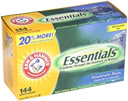 Arm & Hammer 3320000102 Essentials Dryer Sheets, Mountain Rain, 144 Sheets/Box, 6 Boxes/Carton