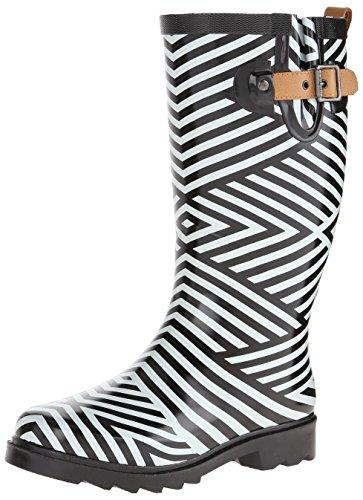 Chooka Women's Ziggy Stripe Rain Boot, Black, 8 M US