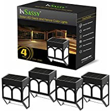 Solar LED Outdoor Lights - Wireless Waterproof Security Lighting for Deck, Fence, Patio, Front Door, Wall, Stair, Landscape, Yard and Driveway Path - Amber / Color Changing - 4 Pack