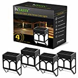 InSassy Solar LED Outdoor Lights - Wireless Waterproof Security Lighting for Deck, Fence, Patio, Front Door, Wall, Stair, Landscape, Yard and Driveway Path - Amber/Color Changing - 4 Pack