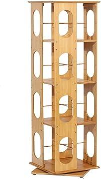 Estantería de bambú de 360 Grados de rotación Estante Libro del alumno Estante Estudio estantería Baja con Tablero de Madera Maciza Estanterías (Color : Brown, Size : 37 * 37 * 118.5cm): Amazon.es: Hogar